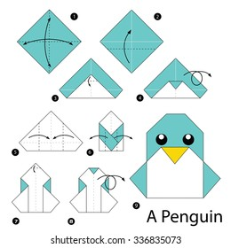 step by step instructions how to make origami A Penguin.