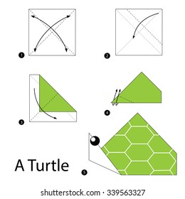 step by step instructions how to make origami A Turtle.