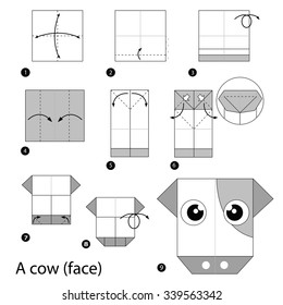 step by step instructions how to make origami A Cow.