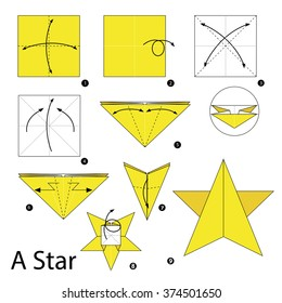 step by step instructions how to make origami A Star.