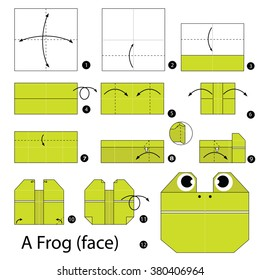 step by step instructions how to make origami A Frog (face).