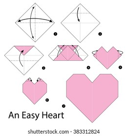 Step by step instructions how to make origami. An Easy Heart.