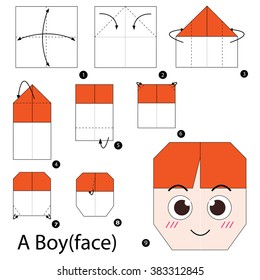 Step by step instructions how to make origami. A Boy (face).