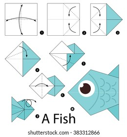 Step by step instructions how to make origami. A Fish.