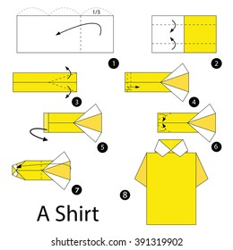 Step By Step Instructions How To Make Origami A T-Shirt. Stock ... | 280x260