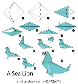 Origami Sea Lion Instructions by DonyaQuick on DeviantArt | 280x260