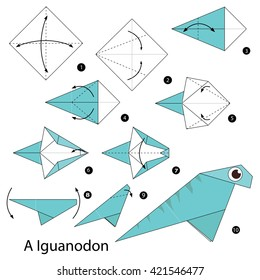 Step by step instructions how to make origami A Dinosaur.