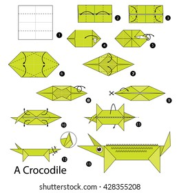 Step by step instructions how to make origami A Crocodile.