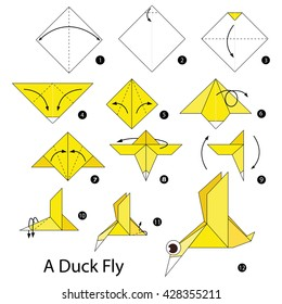 Step by step instructions how to make origami A Duck Fly.