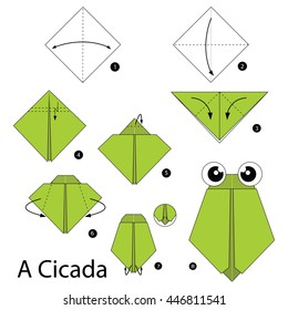 Step by step instructions how to make origami A Cicada.