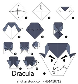 Step by step instructions how to make origami Dracula.