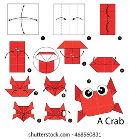 Step by step instructions how to make origami A Crab.