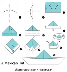 Step by step instructions how to make origami A Mexican Hat.