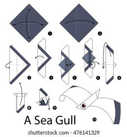 Step by step instructions how to make origami A Sea Gull.