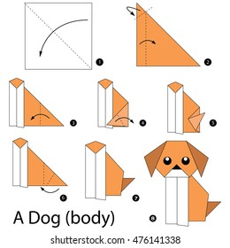 Step by step instructions how to make origami A Dog(body).