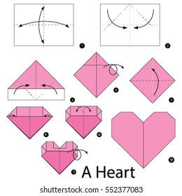 Step by step instructions how to make origami A Heart.
