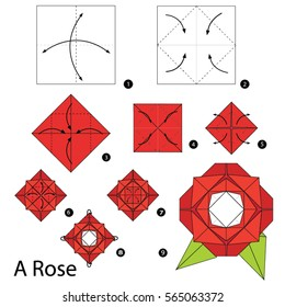 Step by step instructions how to make origami A Rose.