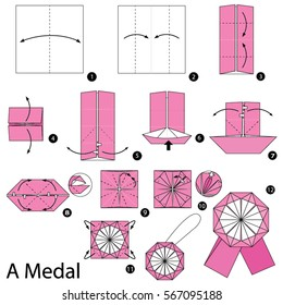 Step by step instructions how to make origami A Medal.