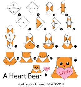 Step by step instructions how to make origami A Heart Bear.