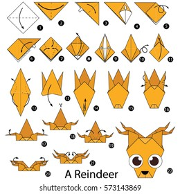 Step by step instructions how to make origami A Reindeer.