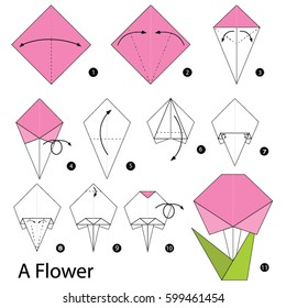 Step by step instructions how to make a origami flower.