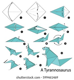 Step by step instructions how to make a origami dinosaur.