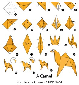 Step by step instructions how to make origami A Camel.