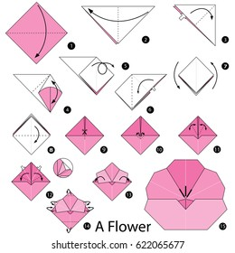 Step by step instructions how make stock vector royalty free step by step instructions how to make origami a flower mightylinksfo