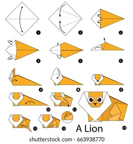 Step by step instructions how to make origami A Lion.