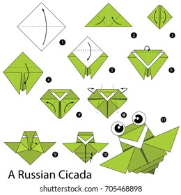 Step by step instructions how to make origami A Russian Cicada.