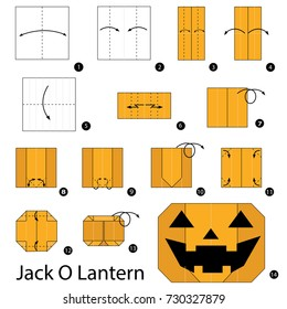 Step by step instructions how to make origami A Jack O Lantern.