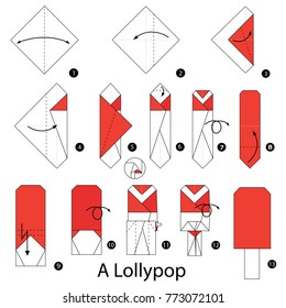 Step by step instructions how to make origami A Lolly pop.