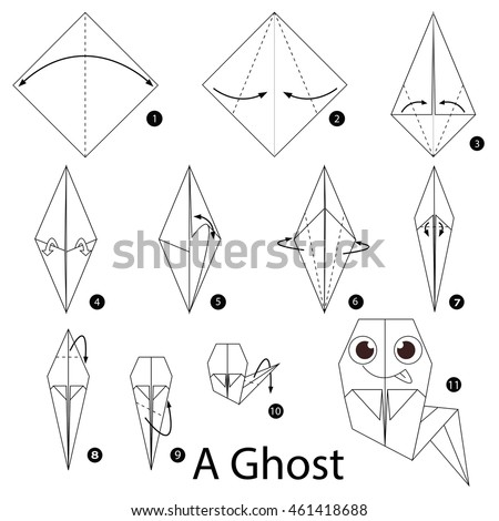 Origami ghost diagram radio wiring diagram step by step instructions how make stock vector royalty free rh shutterstock com origami star diagram origami flowers step by step mightylinksfo