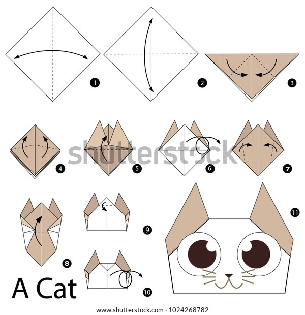 Origami Kitty | Origami cat, Cute origami, Kids origami | 620x600