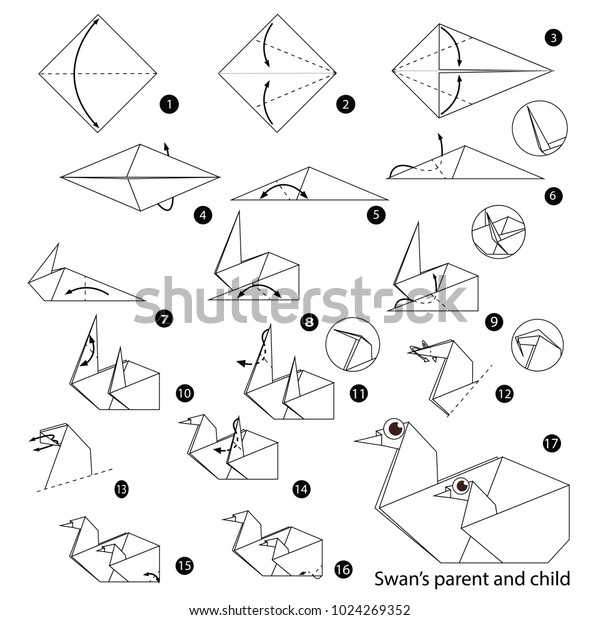 Step By Step Instructions On How To Make Origami, Swan Parent ... | 620x600