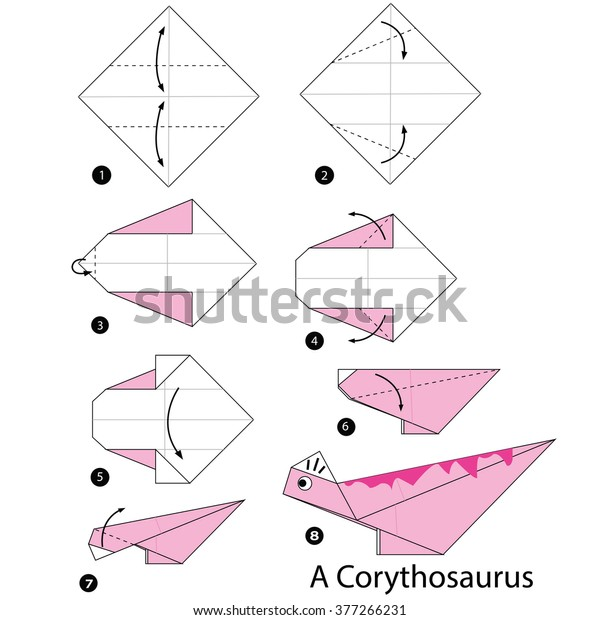 Animated Origami Instructions: Dinosaur | Origami diagrams ... | 620x600