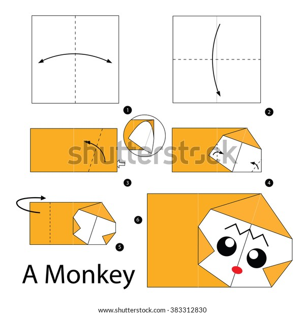 Step instructions how to make origami a monkey Vector Image   620x600