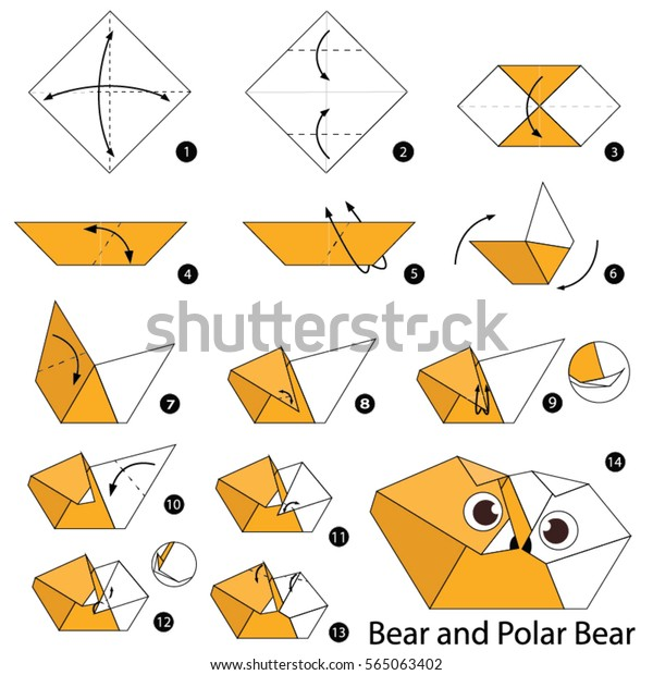 Step By Step Instructions How To Make Origami Bear Santa. Stock ... | 620x600