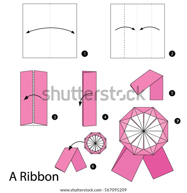 Step by step instructions how to make origami a ribbon. Stock.