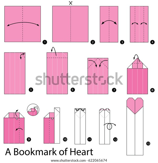 How to Make an Origami Corner Heart Bookmark (with Pictures ... | 620x600