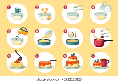 Step by step preparation birthday cake set. Sifting flour creating dough and adding eggs and milk beat yellow crust mass with mixer and bake in oven mix orange glaze. Cartoon sweet vector.