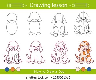 Step by step repeats the picture. Drawing lesson for children. How draw a dog. Drawing tutorial with funny cartoon puppy. Activity art page. Vector illustration.