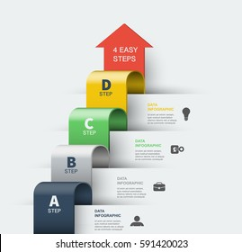 Step by step vector infographics elements. 4 Steps to Success