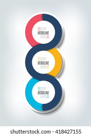 Step by step vertical infographic. Vector 3D design with 3 circle boxes. Can be used for presentation, workflow layout, chart, number options.