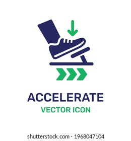 Step car pedal vector. Accelerate forward isolated icon.