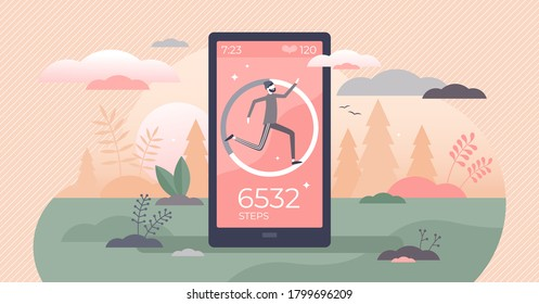 Step counter and pedometer activity app measurement tiny persons concept. Sport tracker and heart rate monitoring device with daily footsteps information vector illustration. Exercise distance data.