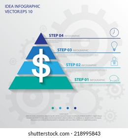 Step design of four part pyramid infographic element. Vector/ illustration.
