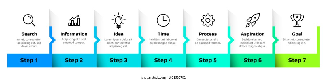 Step diagram. Flowchart infographic design, sequence of business process. Square frames set with text and arrows. Horizontal timeline schema. Vector information visualization template for presentation