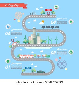 Step of Ecology city with town road infographic. Vector illustration