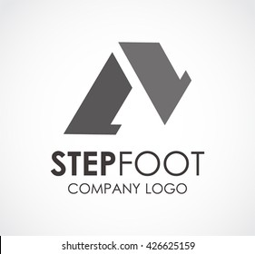 Step foot of walking abstract vector and logo design or template silhouette business icon of company identity symbol concept